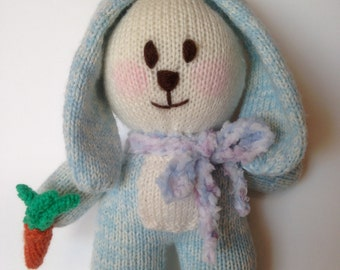Knitted bunny with carrot. Australian made knitted bunny. Knitted baby toy. Baby shower gift.