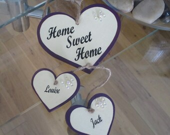 Personalised 'Home Sweet Home' hanging hearts gift plaque sign