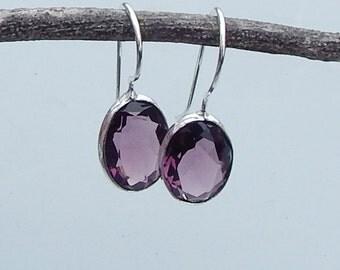Oval Cut Purple Amethyst Gemstone 925 Sterling silver Dangle Earrings Jewelry, Statment Earrings,  Gift Idea , Birthstone Earrings