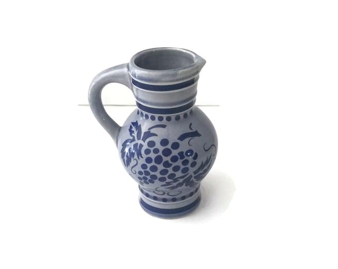 West German Stoneware, Ceramic Pitcher, KWU Dehme Western Germany, Vintage Bud Vase, Grape Design, Stoneware Jug