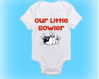 Baby Gift Idea - Our Little Bowler Onesie - Bowling Onesie - Baby Boy - Baby Girl - Baby Clothing - Baby Onesie - Unique Shower Gift