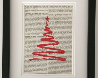 CHRISTMAS TREE - Dictionary Book Page Print - Recycled Vintage Book Page, Home Decor, Poster, Art