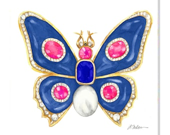 Butterfly Brooch Watercolor Rendering in Yellow Gold with Blue Onyx, Pink Spinels, Diamonds, Sapphire and Pearl printed on Canvas