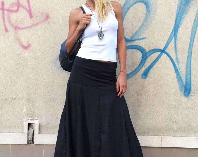 Black Linen Skirt, Loose Fit Skirt, Elegant Skirt, Oversize Long Skirt, Everyday Skirt By SSDfashion
