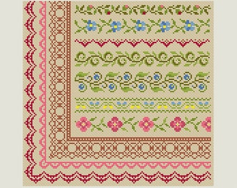 Cross Stitch border - Cross Stitch patterns- Cross Stitch edge - Embroidery Borders- PDF- Instant download