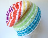 Hand Knit Colorful Striped Beanie, Slouchy Cotton Rainbow Hat