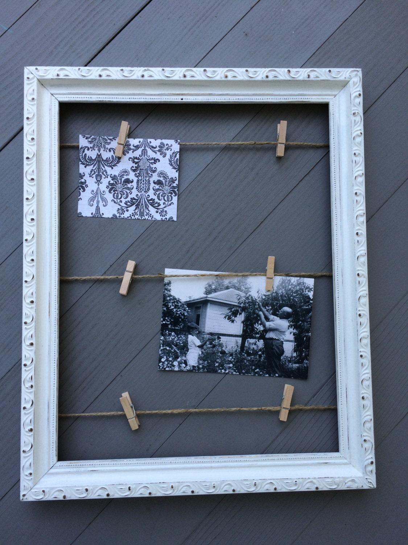 Cadre avec des ficelles et des pinces linge comprend six - Cadre photo avec pince linge ...