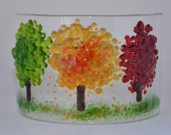 Handmade Fused Glass Art - Autumn Curve (Small)