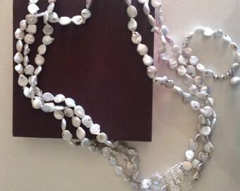 Freshwater pearls necklace and bracelet,collana  e bracciale in perle di fiume colore avorio, handmade necklace, freshwater bracelet