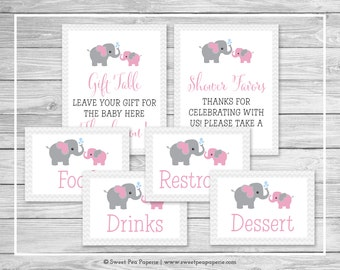Elephant Baby Shower Table Signs - Printable Baby Shower Table Signs - Pink and Gray Elephant Baby Shower - EDITABLE - SP101