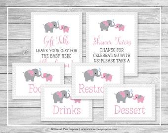 Elephant Baby Shower Table Signs - Printable Baby Shower Table Signs - Pink and Gray Elephant Baby Shower - EDITABLE - SP101