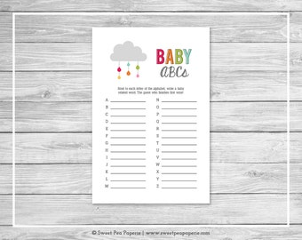 Rainbow Showers Baby ABCs Game - Printable Baby Shower Baby ABCs Game - Rainbow Baby Shower - Baby ABCs Game - SP100