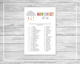 Rainbow Showers Baby Shower How Sweet It Is Game - Printable Baby Shower How Sweet It Is Game - Rainbow Baby Shower - Candy Matching - SP100