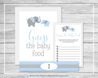 Elephant Baby Shower Guess The Baby Food Game - Printable Baby Shower Guess The Baby Food Game - Blue and Gray Elephant Baby Shower - SP102