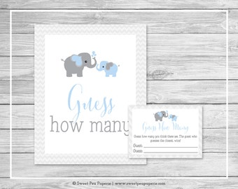 Elephant Baby Shower Guess How Many Game - Printable Baby Shower Guess How Many Game - Blue and Gray Elephant Baby Shower - SP102