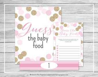 Pink and Gold Baby Shower Guess The Baby Food Game - Printable Baby Shower Guess The Baby Food Game - Pink and Glitter Baby Shower - SP106