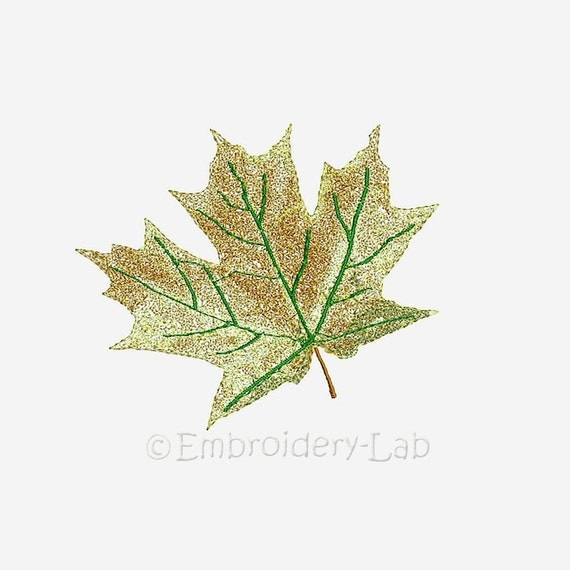 Maple leaf digital design for embroidery machine