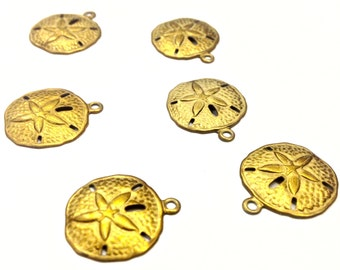 6 Pieces Of Sand Dollar Charms, Raw Brass with Cutouts, Vintage, 17x15mm