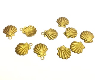 15 Pieces Small Scallop Shell Charms or Stamped Findings, Vintage,