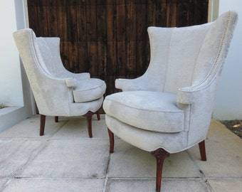 Pair Of 1940's Modern Wing Back Chairs In The Manner Of Grosfeld House.