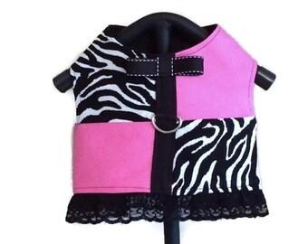 Dog Dress, Dog Harness Dress, Dog Harness, Small Dog Harness, Dog Clothes, Zebra Dog Dress, Lace Dog Dress, Small Dog Dress, Pink Dog Dress