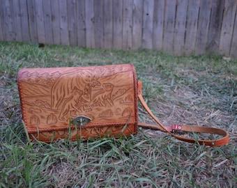 SALE! Vintage Carved Leather Purse