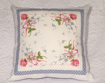 Vintage Hanky Pillow With Four Roses  Design