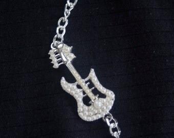 Silver  white pearl guitar bracelet-guitar jewelry-guitar bracelet