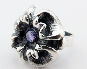 Sterling Silver Flower Ring With Amethyst Size 4