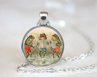 Frog Necklace, Frog Jewelry, Frog Chorus, Singing Frogs Necklace, Frog Pendant, Music Teacher Gift
