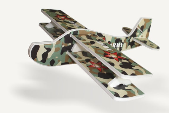 Military airplane Camouflage aeroplane Aircraft Aviation Gift for a boy Air plane birthday party decor Model airplane Military toys Biplane