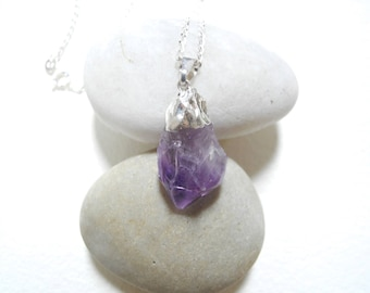 FREE SHIPPING, Amethyst Point Necklace, Raw Amethyst Necklace, Silver Dipped Amethyst Point, Amethyst Necklace, Natural Gemstone Necklace