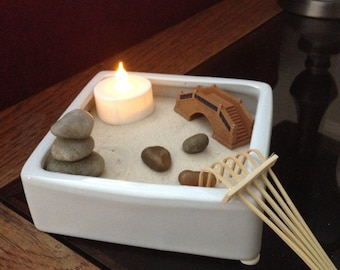 Mini miniature Zen Garden with hand balanced cairn