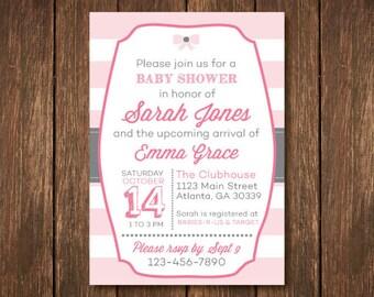 Pink & Gray Striped - Baby Girl Shower Invitation
