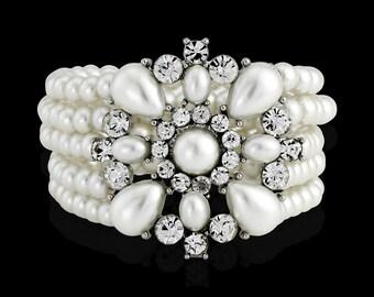Ivory Pearl Bracelet, Multi-Strand Pearl Bracelet Bridal Bracelet Wedding Bracelet Pearl and Crystal Bracelet