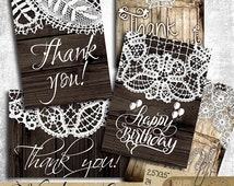 Wood and Lace Thank You Cards - Printable Digital Collage Sheet digital downloads ATC Jewelry Holders, Gift Tags, Wedding Favor Tags CP-441a