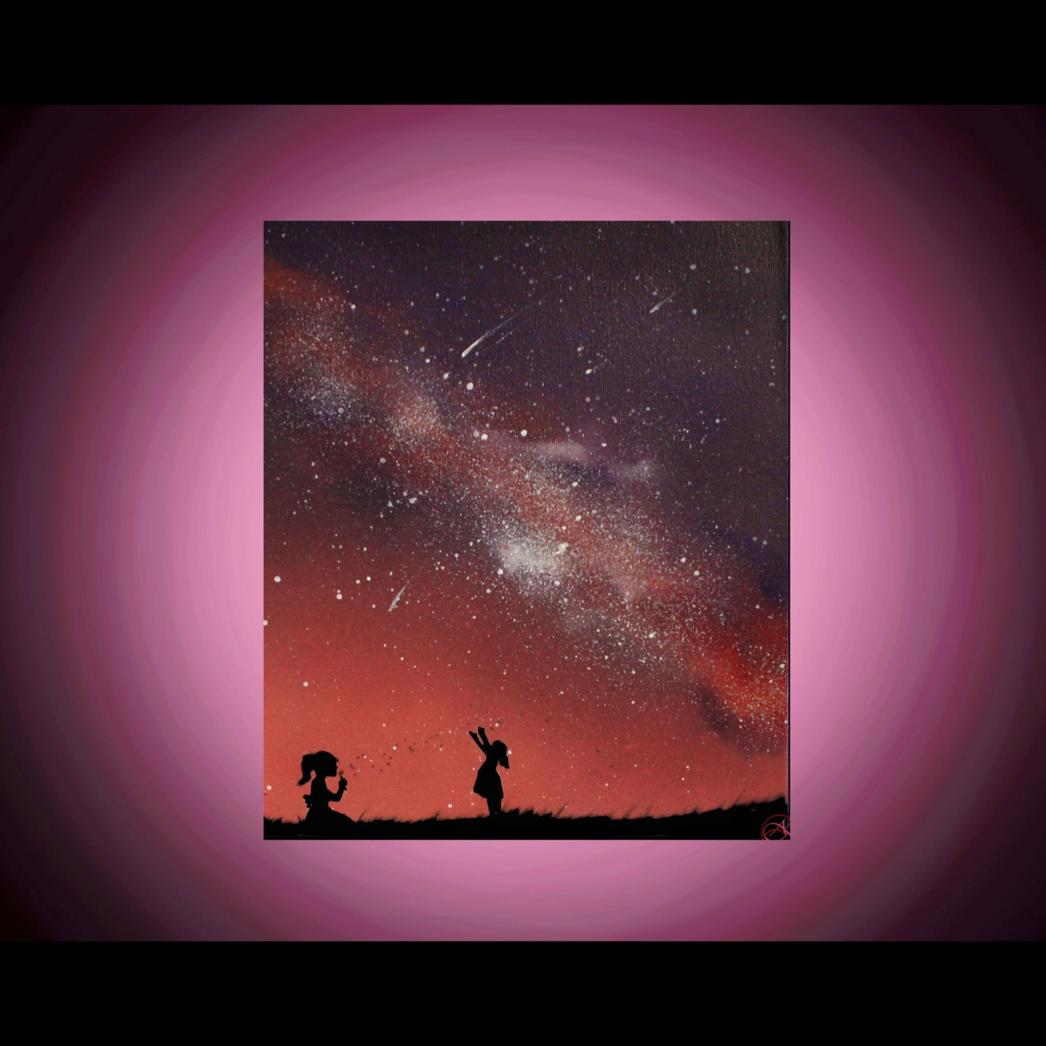 space art children playing paintings on canvas space art. Black Bedroom Furniture Sets. Home Design Ideas