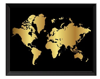 Black and gold globe etsy world map print black shinny metallic gold leaf look world map poster print globe modern abstract gumiabroncs Gallery