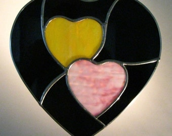 """Beautiful Stained Glass Suncatcher """"Two Hearts"""", Yellow/Pink, Black Bkg. 11""""x11"""", Hardware Incl., U.S. Artist & Made,"""