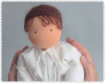 "Made to order. Baby doll 12"", waldorf doll, for baby, for sister, for brother. Soft doll. Dark hair and eyes. Gift for Christmas."