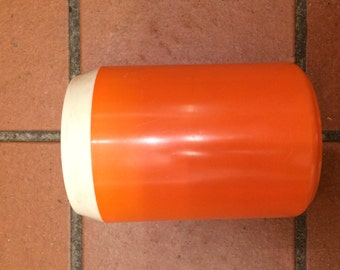 vintage orange plastic storage container