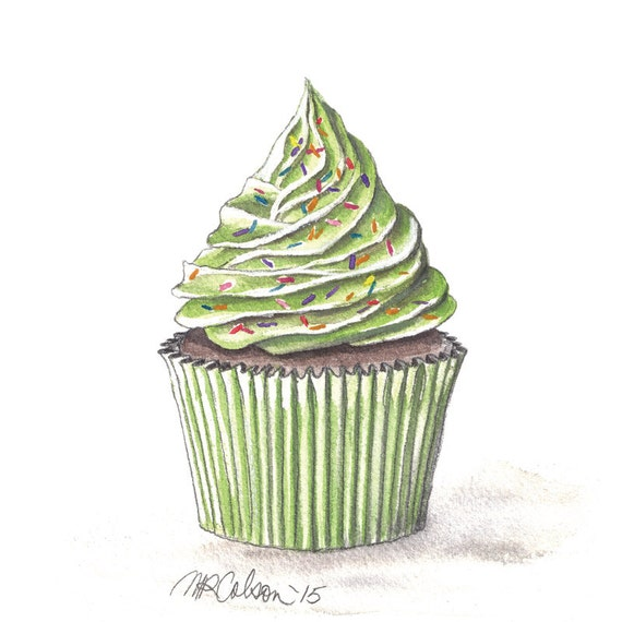 Cupcake Print Watercolor Cupcake Art 5x7 8x10 11x14
