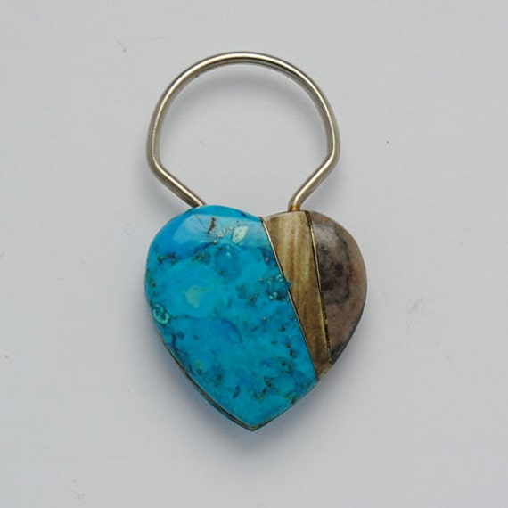 Turquoise key ring - heart key ring - vintage key ring - native american key ring - women key ring - key rings - love key ring