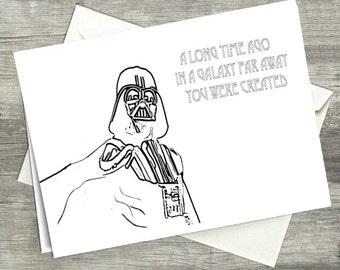 Birthday Card - Funny Birthday Card - Happy Birthday Card - Star Wars Birthday Card - Darth Vader