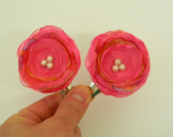 Pink Flower Hair Clips Pair Hand Crafted Organza Fabric Hair Snap Toddler Girl Hot Pink Hair Accessories Embellished with Pearls OOAK