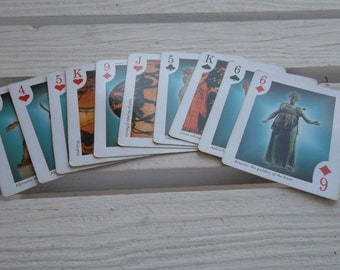 Vintage Playing Cards, Greek Gods, 10 Random Cards