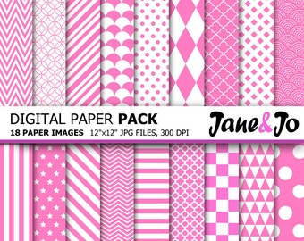 Pink Digital Paper , Pink and White,Chevron,Polka Dot,Stripes Pattern,Party Pink Digital Background Digital Papers Pack,Instant Download