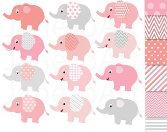 24 Elephant Clipart  Pink and Grey Elephant Clip Art, Baby Elephants Clip Art baby shower Digital Elephant,Chevron polkadot Elephant Clipart