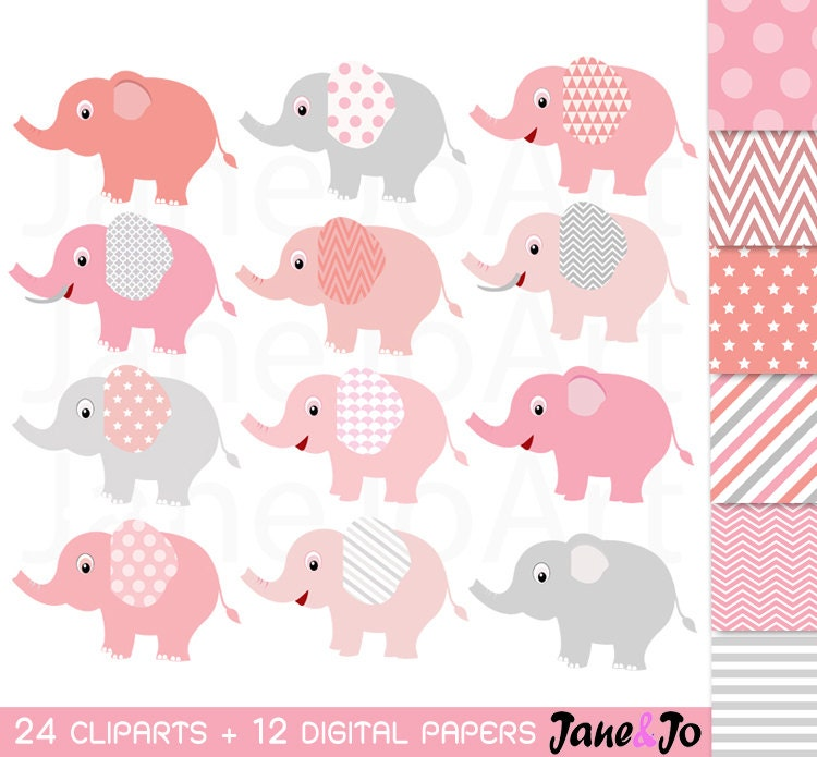 24 Elephant Clipart Pink and Grey Elephant Clip Art Baby