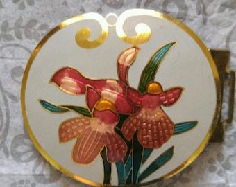 Cloisonné Enameled Belt Buckle YEN China House Iris Gold Accent